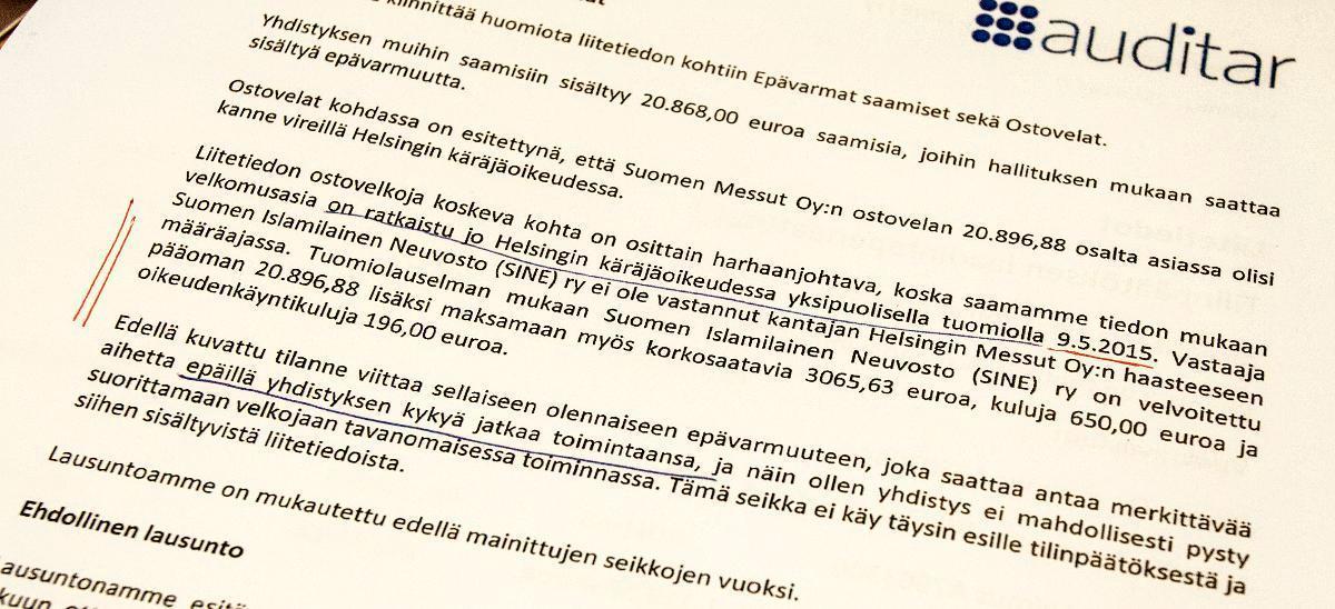 Ulkopuolinen tilintarkastaja pohti joulukuussa 2015, onko SINE:llä kykyä jatkaa toimintaansa.