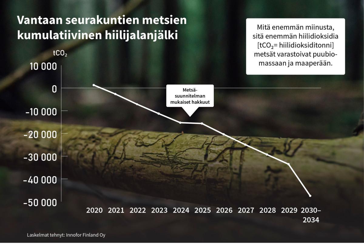 Vantaan seurakuntien metsät sitovat keskmääräistä suomalaismetsää enemmän hiilidioksidia.